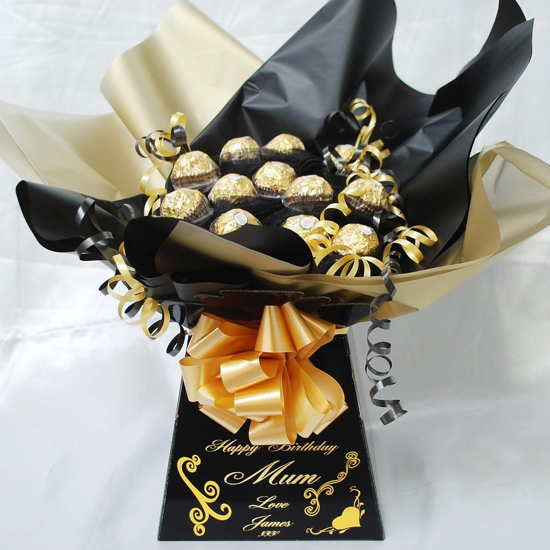 Ferrero rocher 20 piece sweet chocolate bouquet hamper black and mini black personalised ferrero rocher sweet bouquet chocolate bouquet hamper izmirmasajfo Images