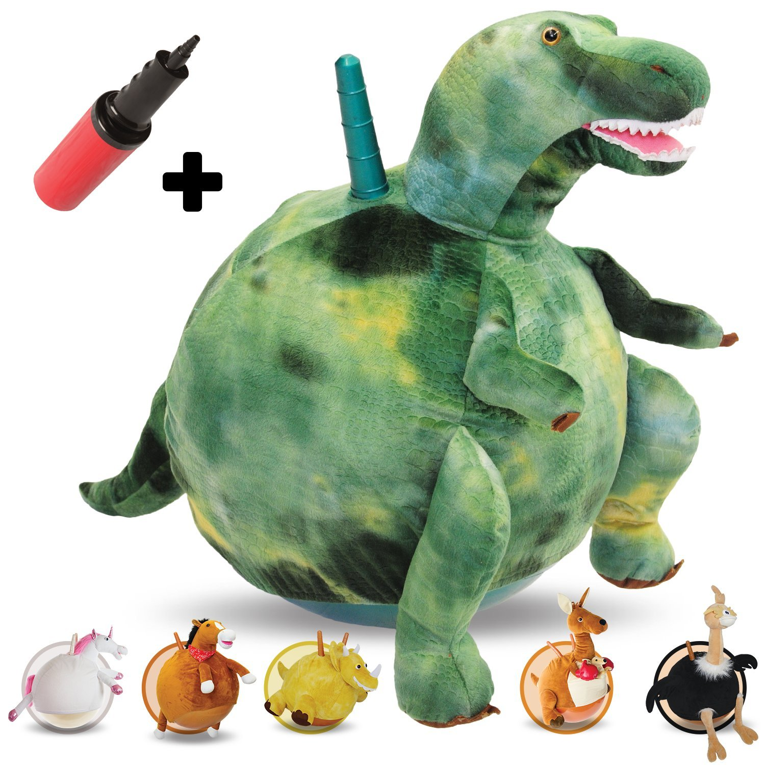 WALIKI TOYS Toothy: Large Hopping Ball Plush T-rex Dinosaur | Hop Ball Hopper | Hoppity Hop (Ages 7-9 with handles)