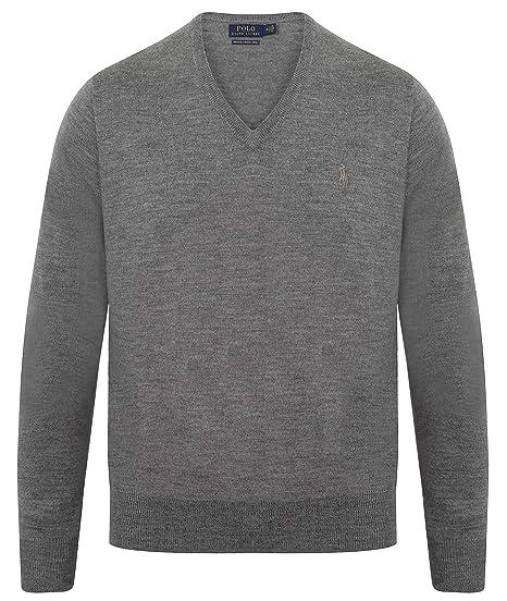b6c97110fc07 Ralph Lauren Mens V Neck Merino Wool Jumper  Amazon.co.uk  Clothing
