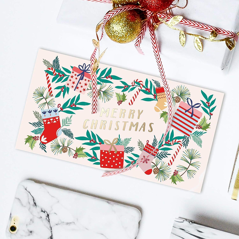 Interno Opaco con Intagli 6 Fantasie Carta 300 gsm 4 di Ognuno Porta Carte o Soldi Sweetzer /& Orange Regali di Natale Set di 24 Bigliettini di Auguri con Busta Rossa Esterno Lucido 9x16cm