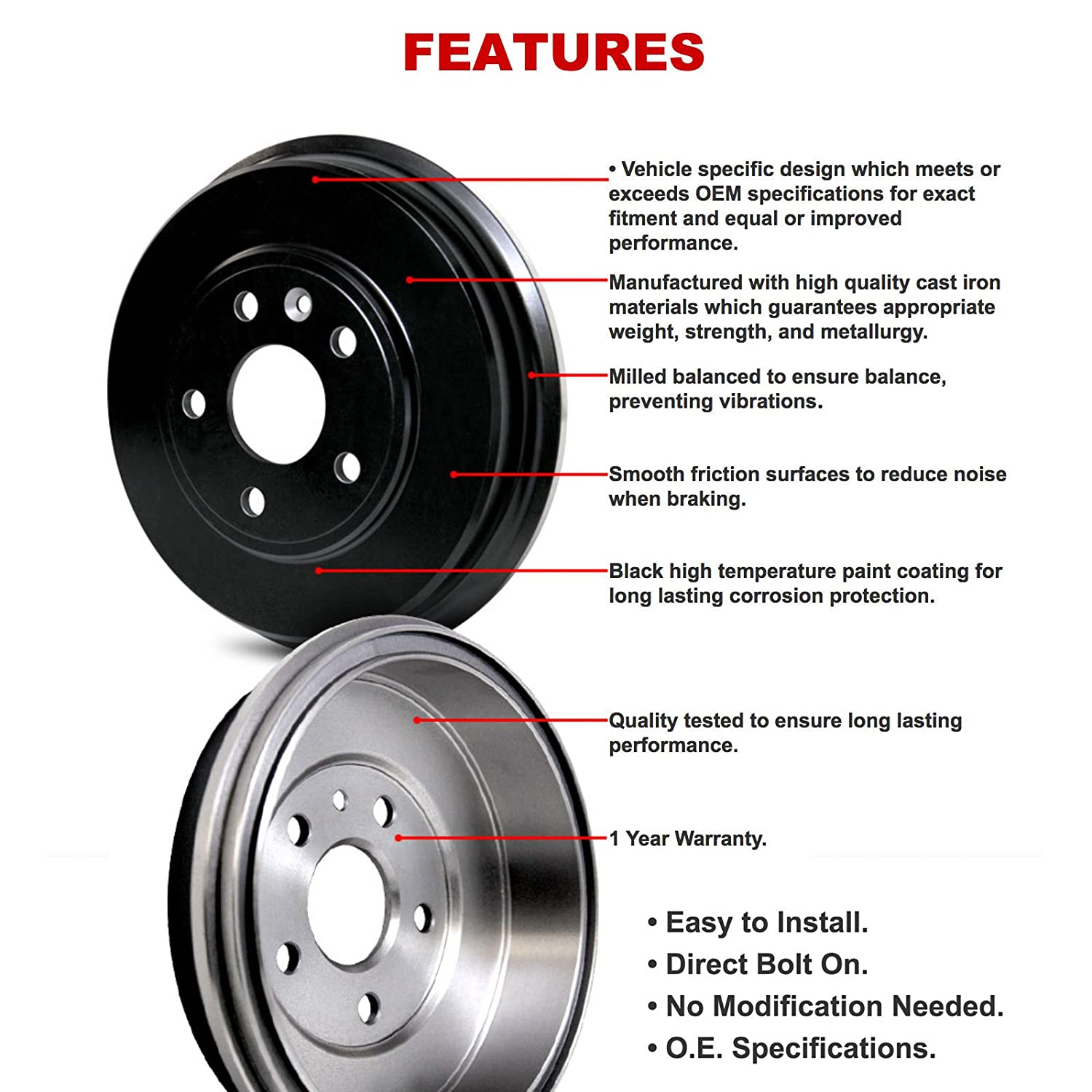 Sentra R1 Concepts Brake Drums Rear For 1991-1994 Nissan NX Pair