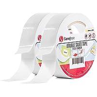 Sanojtape Dubbelzijdig Montage Tape (2-Pack) 25mm x 20m | Algemeen Gebruik voor Vaklui Foto's Kantoor Doe het zelf…