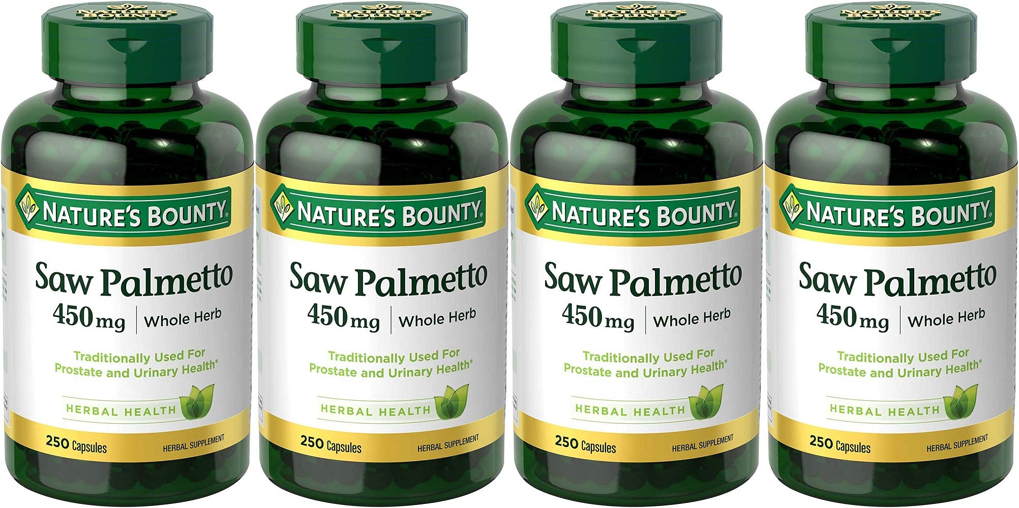 Nature's Bounty Saw Palmetto 450 mg Capsules 250 ea (Pack of 4)