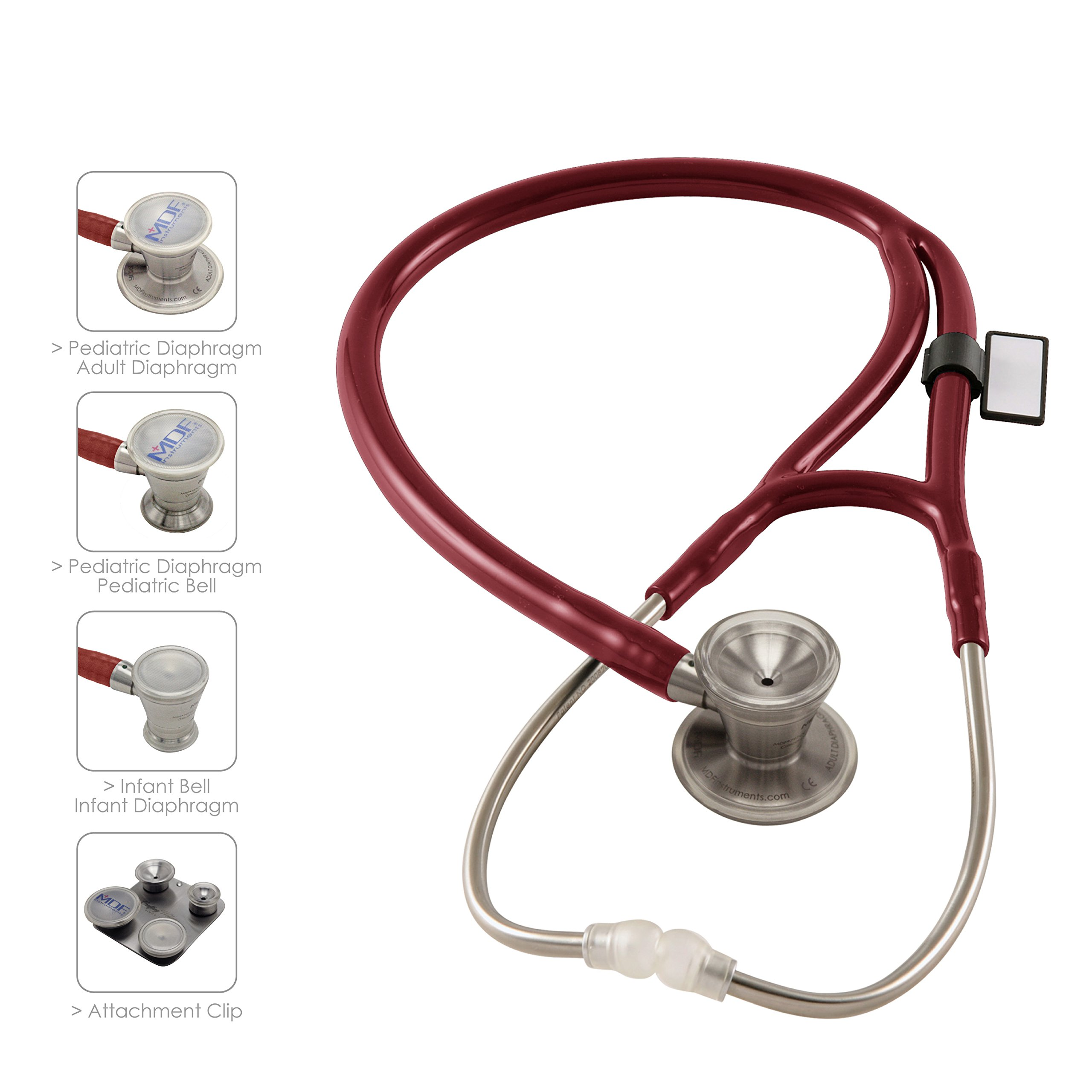 MDF ProCardial C3 Cardiology Stainless Steel Dual Head Stethoscope with Adult, Pediatric, and Infant-Neonatal convertible chestpiece - Burgundy (MDF797CC-17)