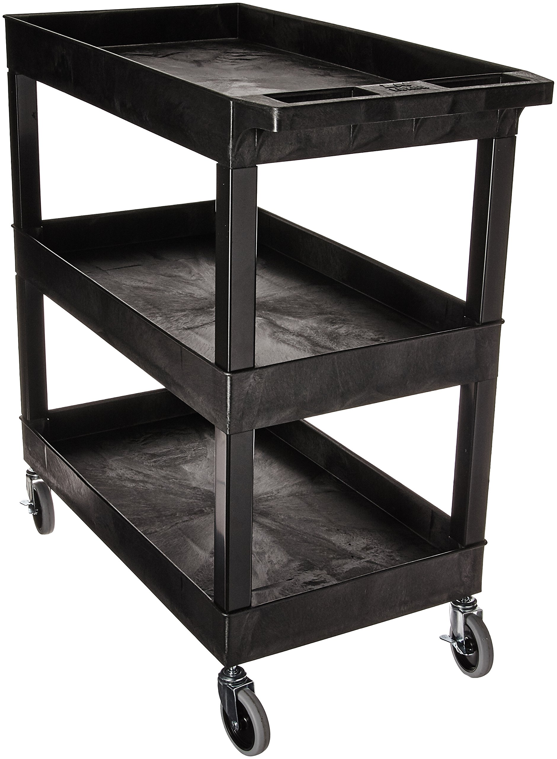 Luxor EC111-B Tub Storage Cart 3 Shelves - Black,32'' x 18'' by Luxor