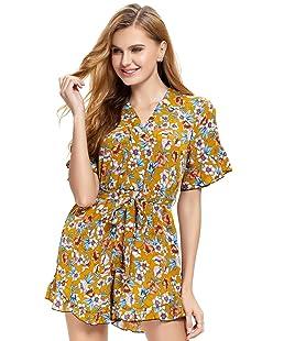 Abollria Damen Sommer Jumpsuit Kurz Overall Floral Print V-Ausschnitt mit Volantdetails und Taillenschleife