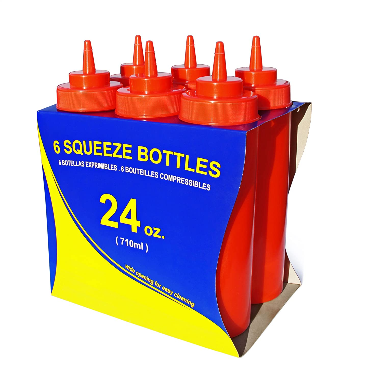 Red Plastic 24 oz New Star Foodservice 26405 Squeeze Bottles Wide Mouth Pack of 6