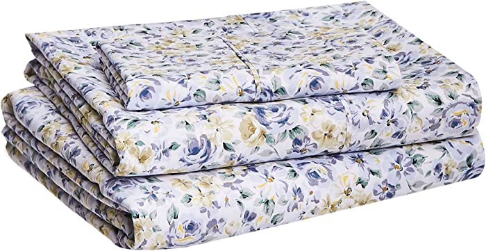 "AmazonBasics Lightweight Super Soft Easy Care Microfiber Sheet Set with 16"" Deep Pockets - Twin XL, Blue Floral"