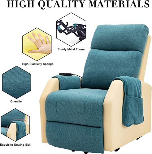 NOKMY Recliner Chair Electric Power Lift Chair Living Room Sofa with Massage Vibration Lumbar Heating 2 Side Pockets Motorized Reclining Chenille Mixed Blue