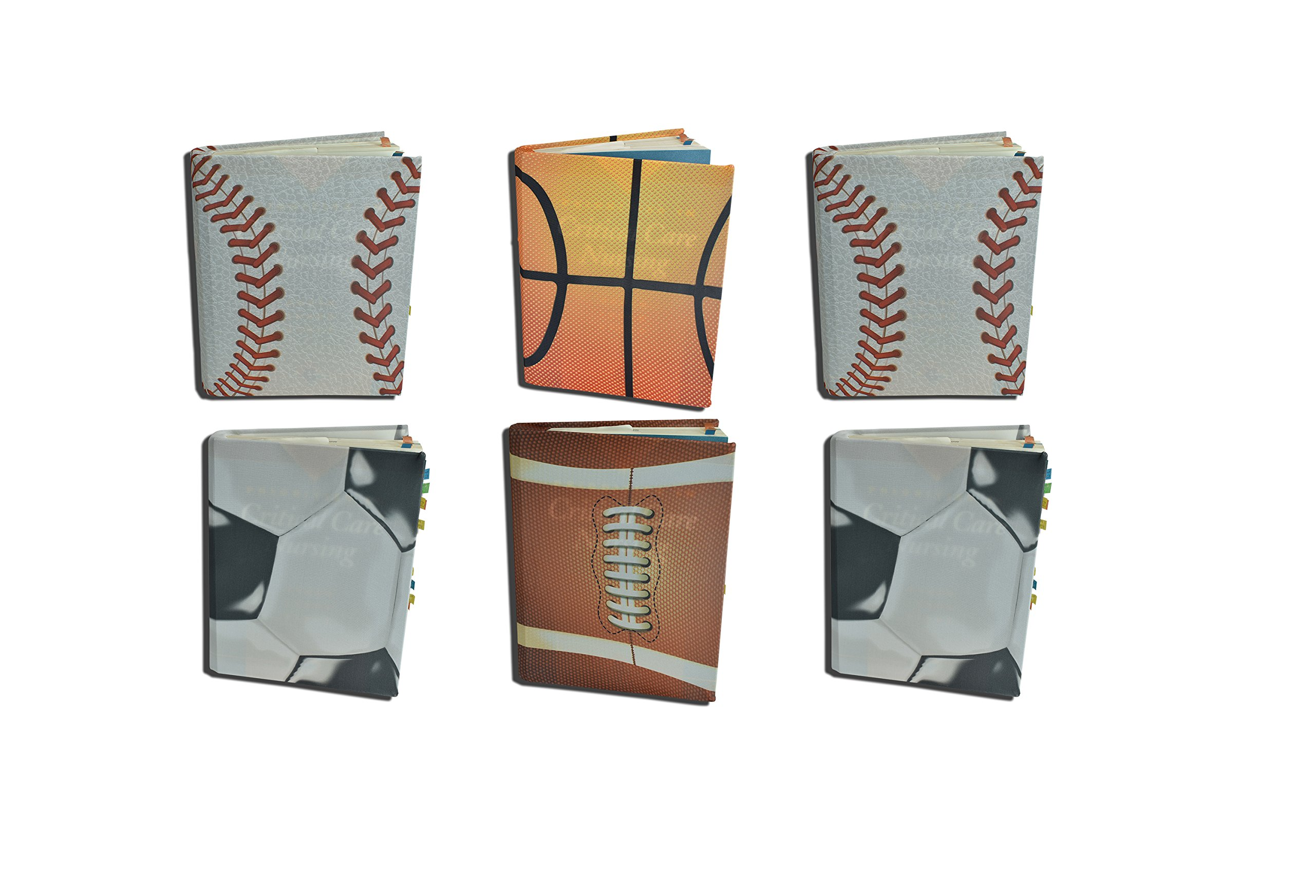 Sports Themed Stretchy Protective Textbook Covers 6 Pack of Stretchable Cloth Baseball, Basketball, Football and Soccer (Sports Vary) (Jumbo Only Sports Variety 6 Pack)