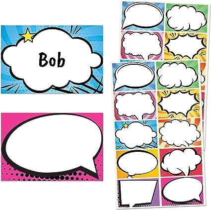 Tebeo Superhéroes Nombre Pegatinas Etiquetas, 7,5 x 5cm - 5 Diseños, Paquete de 250: Amazon.es: Oficina y papelería