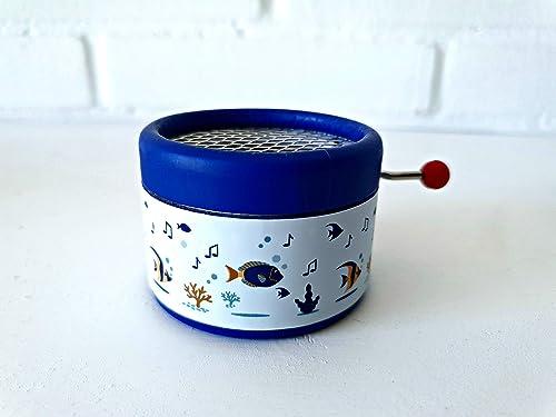Caja de música color azul decorada con dibujos de mar con la ...