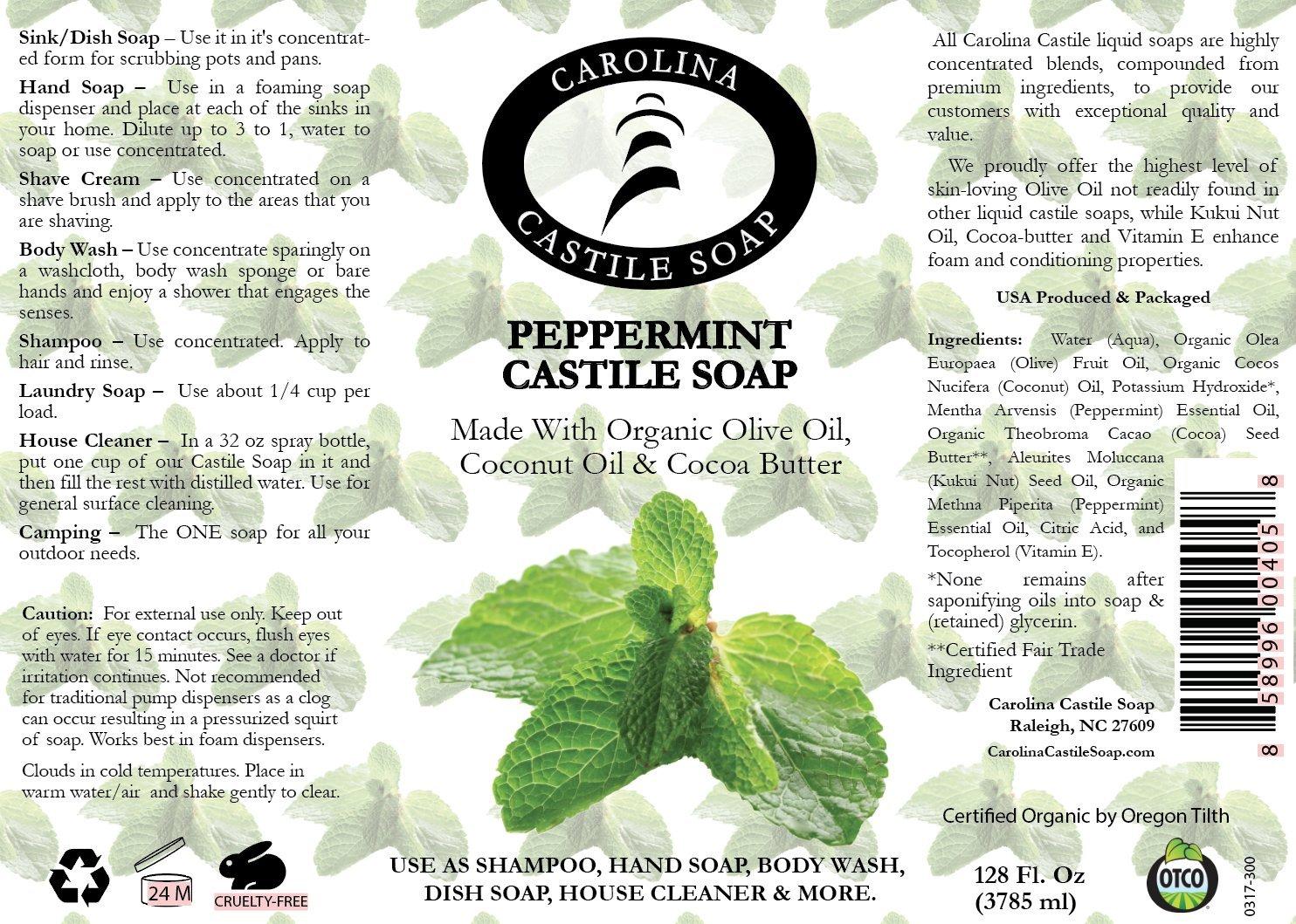 Carolina Castile Soap Peppermint | Certified Organic - 1 Gallon by Carolina Castile Soap (Image #2)