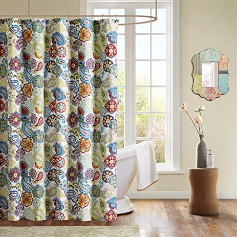 Mi Zone   Tamil Shower Curtain   Green  Blue   Red   72 WAmazon com  Mi Zone   Tamil Shower Curtain   Green  Blue   Red  . Red And Blue Shower Curtain. Home Design Ideas