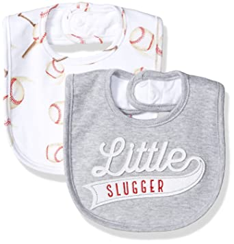 aa3ce48e9 Amazon.com: Mud Pie Baby Boys' Applique Bib, Baseball One Size: Clothing
