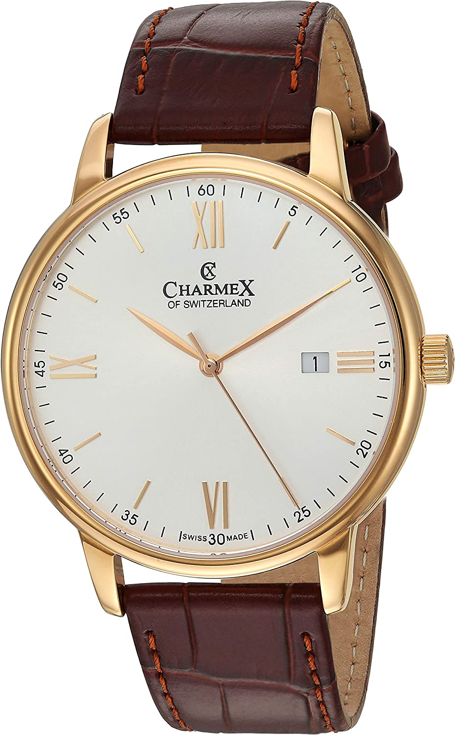 Charmex of Switzerland Charmex Amalfi Luxury Swiss Made Men's Watch Sapphire Crystal Brown Leather Strap 42mm Rose-Tone Stainless Steel Case CX-3030