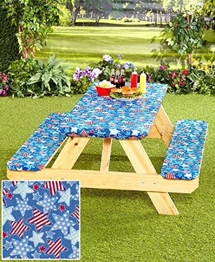 Amazoncom Pc Picnic Table Covers Americana Stars Garden - Outdoor picnic table covers