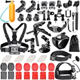 Neewer 62-in-1 Action Camera Accessory Kit for GoPro Hero 7 6 5 4 3+ 3 2 1 Hero Session 5 Black AKASO EK7000 Apeman SJ4000 5000 6000 DBPOWER AKASO VicTsing WiMiUS Rollei QUMOX Lightdow DJI OSMO Action Sony Sports Dv and More