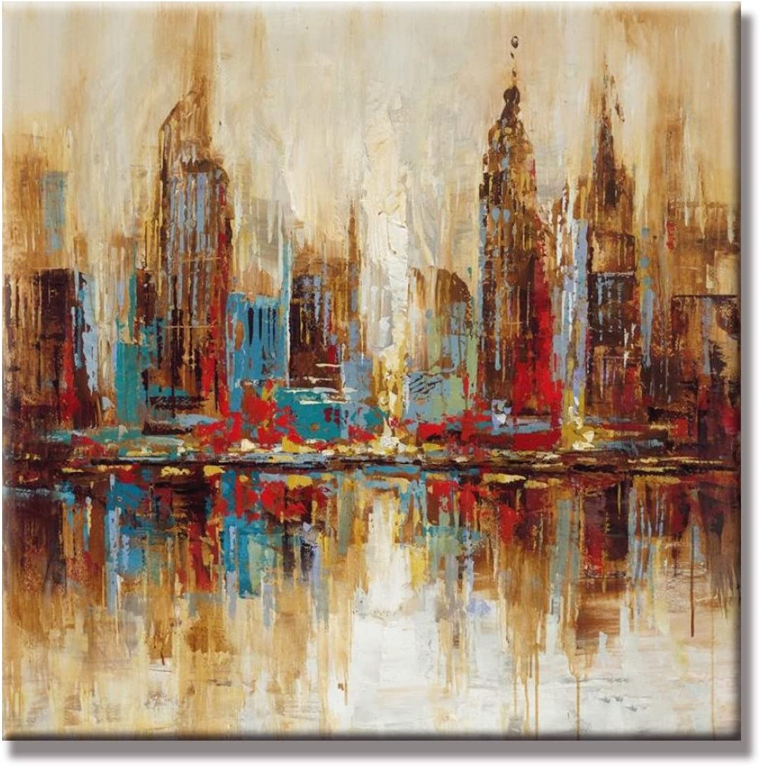 UAC WALL ARTS- 100 Hand Painted Cityscape Extra Large Colorful City Modern Gallery Wrapped Abstract Landscape Oil Paintings on Canvas Wall Art for Living Room Bedroom Home Decorations Ready to Hang