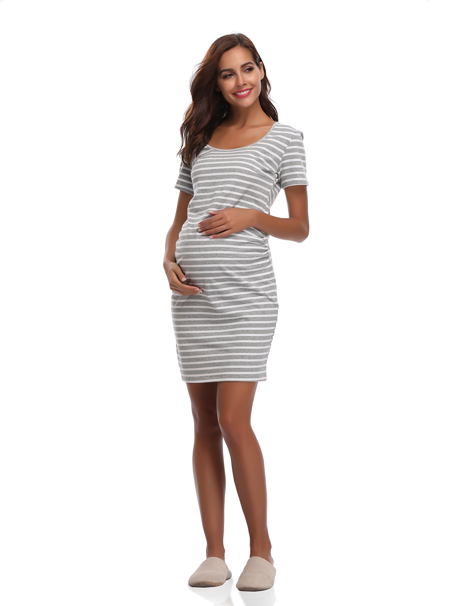 Floating Time Women's Short Sleeve Maternity Dress(S, Grey Stripes)
