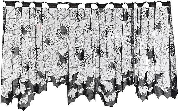 HALLOWEEN  Fledermaus Schädel Fenster Vorhang Fransen Spitze Fensterdeko Gardine