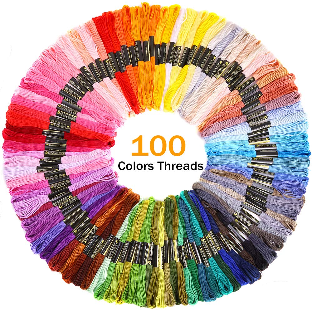 100 Color Threads A Circular Package Bag and Cross Stitch Tools Kit for Beginners Sewing 4 Pieces Aida Cloth Pllieay Full Range of Embroidery Starter Kit Including 5 Pieces Bamboo Embroidery Hoops