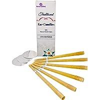 Bougies d'oreille Traditionnelles Camomille pour Traitement & Aromathérapie (x6) Cire d'abeille & Mousseline de Coton Naturel avec Filtres & Disques protecteurs ~ Relaxant, Fait à la Main