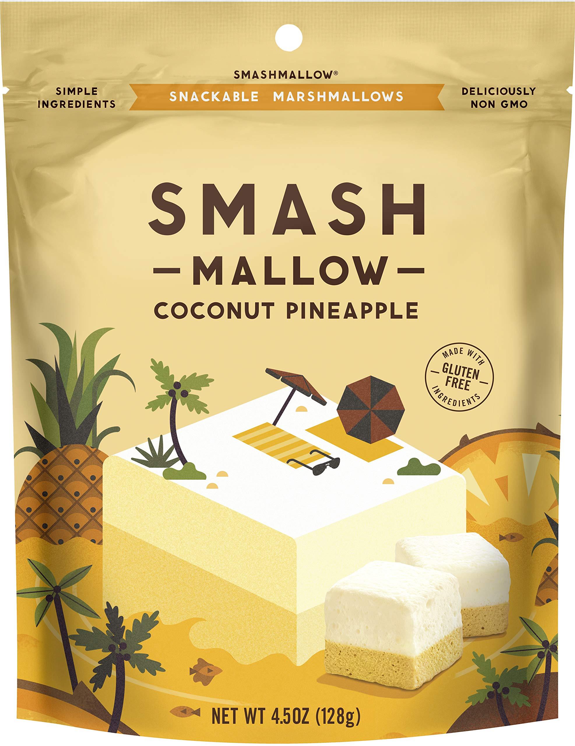 Coconut Pineapple by SMASHMALLOW | Snackable Marshmallows | Non-GMO | Organic Cane Sugar | 80 calories | (4.5 oz) by Smashmallow