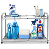Simple Trending - Estante organizador para debajo del fregadero, de 2 niveles, para cocina, baño, almacenamiento, color plate