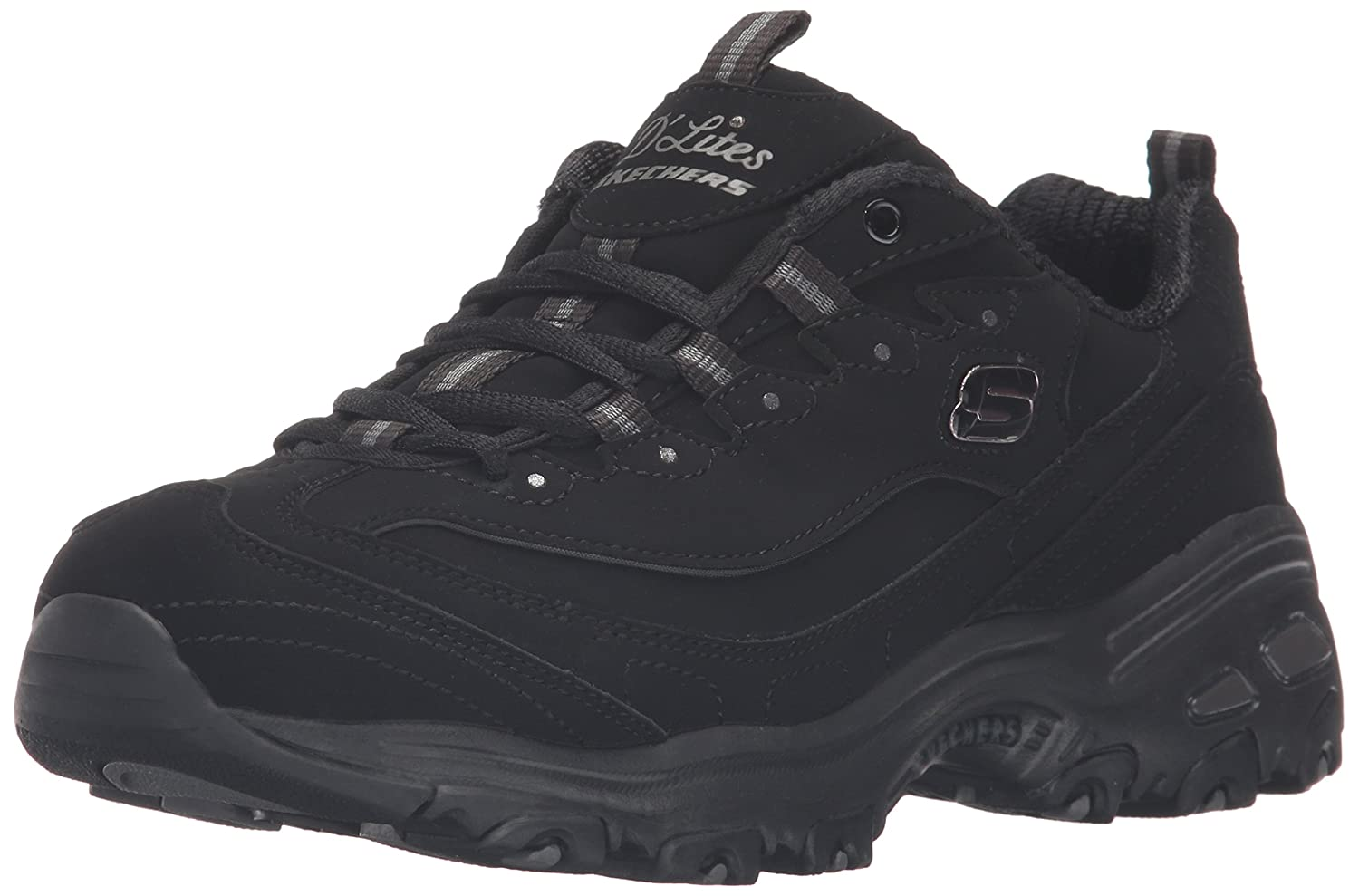 Skechers Women's D'Lites Memory Foam Lace-up Sneaker B01ESD61JI 8.5 B(M) US|Black/Black