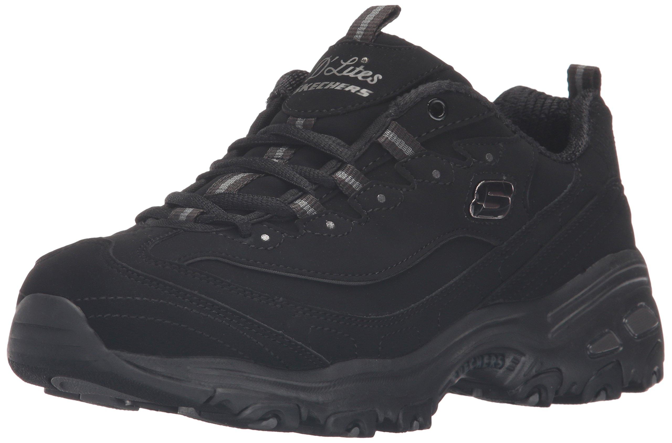 Skechers Sport Women's D'Lites Memory Foam Lace-up Sneaker,Black/Black,10 M US