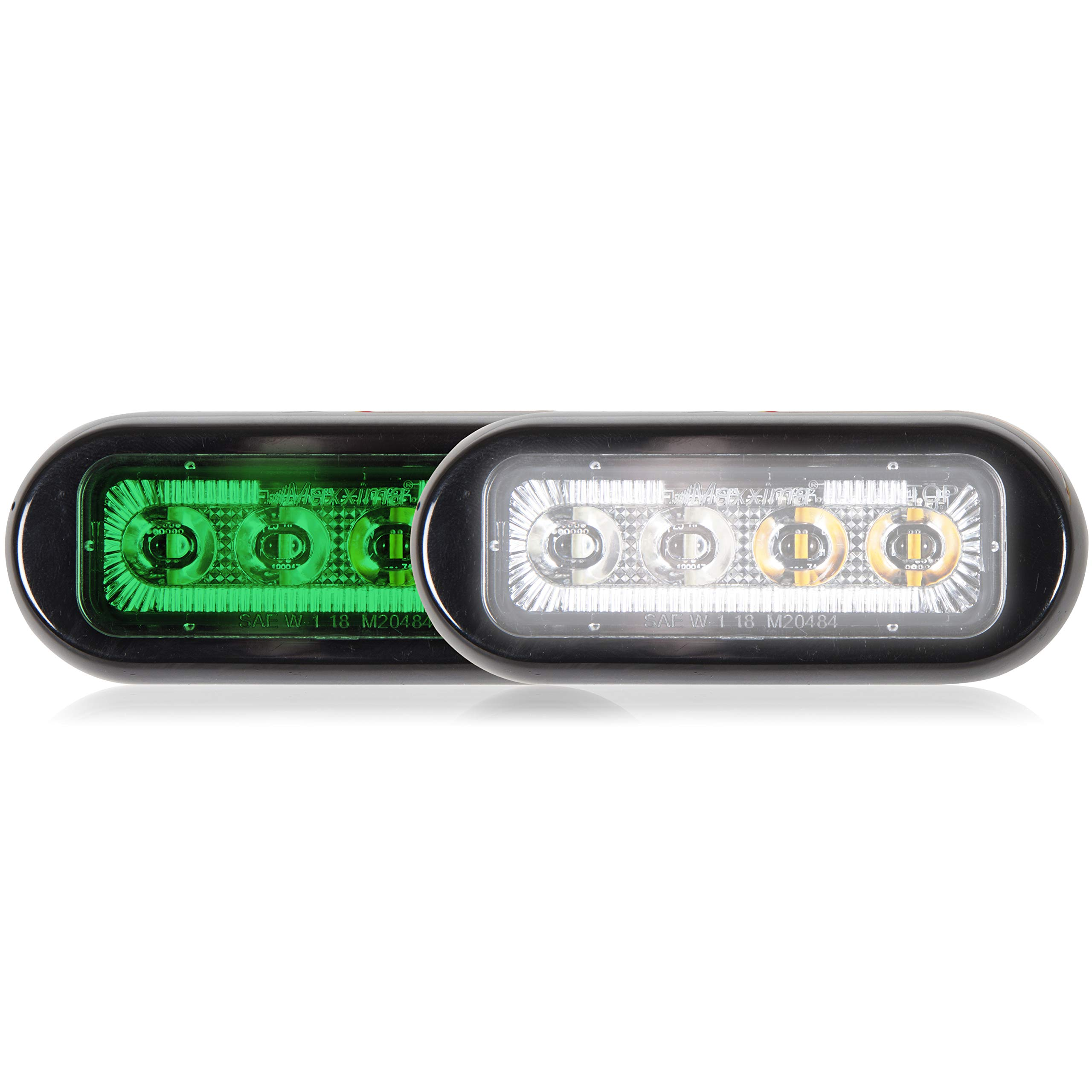 Maxxima M20484GWCL-DC 8 LED Rectangular Surface Mount Warning & Emergency Dual Color Green/White Clear Lens