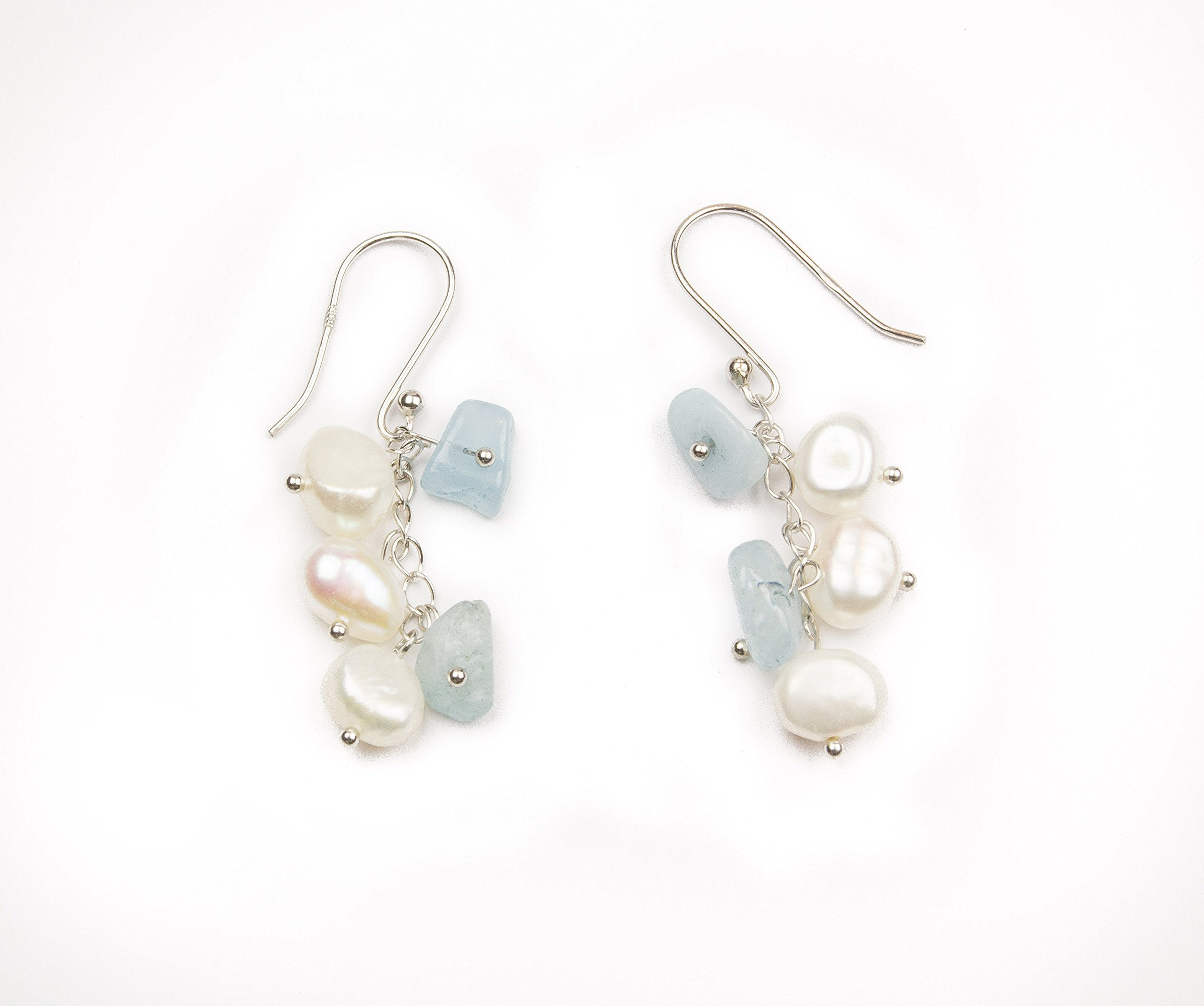 HinsonGayle 'Sky' 2-Strand Freshwater Cultured Pearl & Aquamarine Necklace & Dangle Earrings-40 in length by HinsonGayle Fine Pearl Jewelry (Image #3)