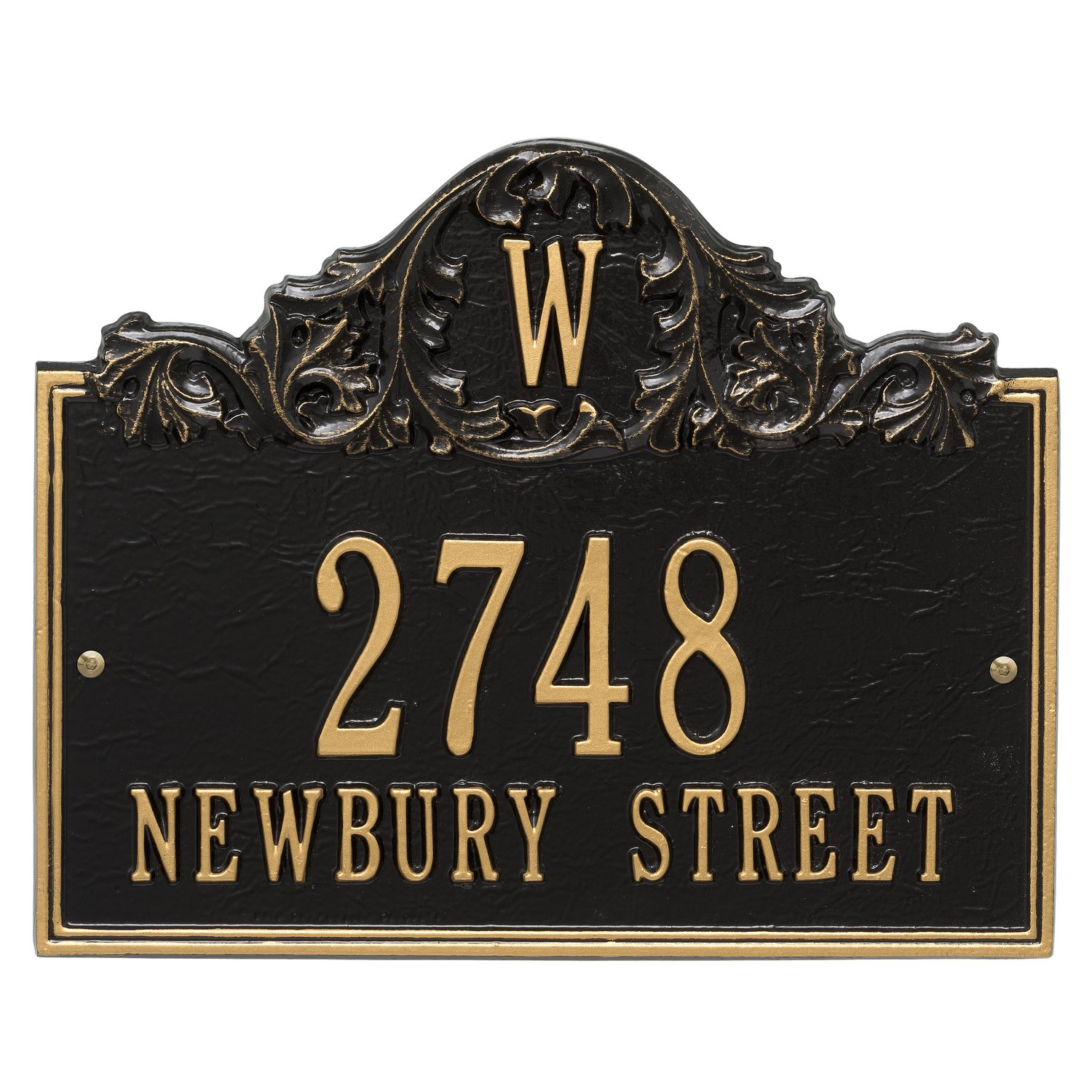 "Customized Acanthus Monogram Address Plaque 11""H x 14""W (3 Lines)"
