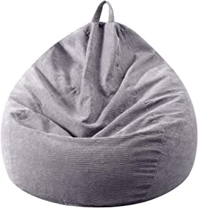 Bean Bag Chair Cover Only (No Filler) - Extra Large, Stuffed Animal Storage & Memory Foam - Washable Premium Soft Corduroy, Sturdy Zipper Beanbag Case, Sack Bean Bag for Adults,Kids,Teens