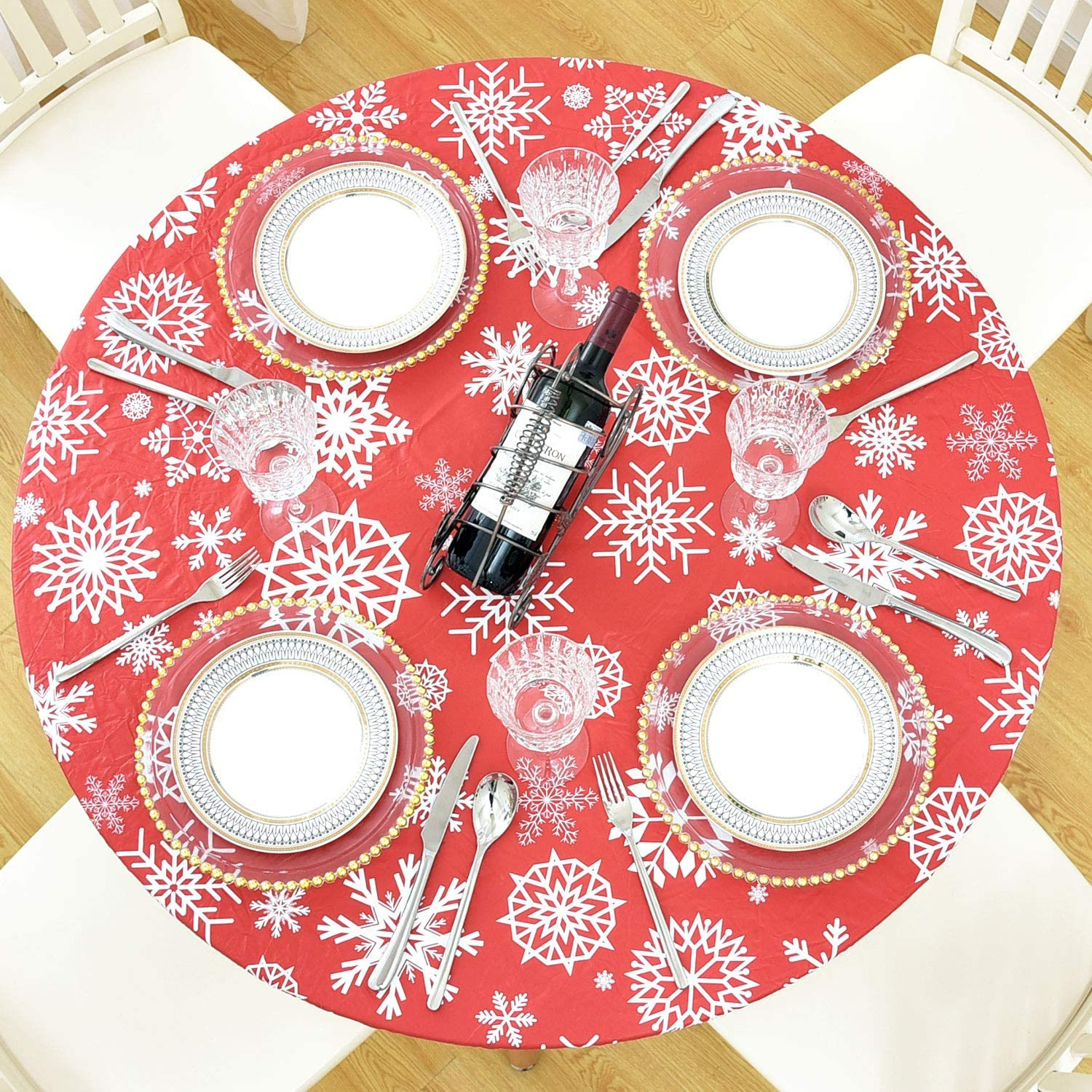 "Lifesmells Round Fitted Vinyl Tablecloth for Indoor Outdoor Patio Tables, Oil&Waterproof Wipeable, Flannel Backed&Elastic Edge, Red-White Snowflake for Table of 36-44"" Diameter"