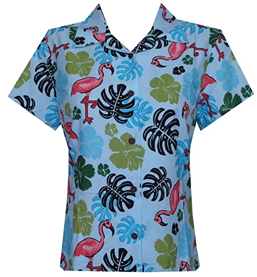 e593d53c7 Hawaiian Shirt 37W Women Flamingo Leaf Print Aloha Beach Blouse Aqua Blue XS