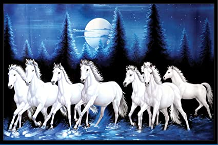 Graphics World Vastu Poster White 7 Horse Running Vinayl Sticker