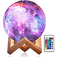 Moon Lamp Kids Night Light Galaxy 3D Star Lamp 5.87 Inch 16 Colors LED Globe Light with Wood Stand, Touch, Pat and…