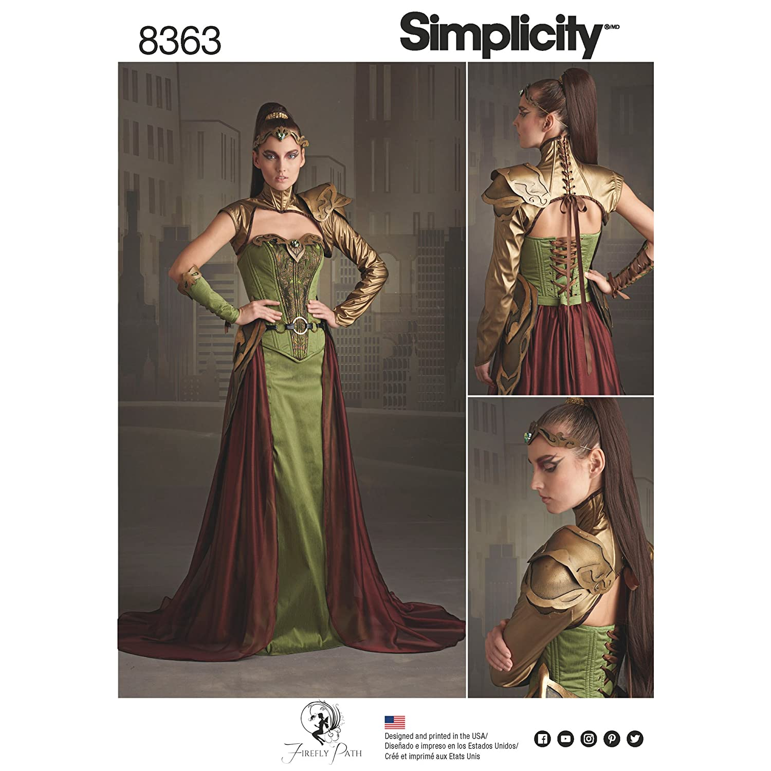 Simplicity Pattern 8363 H5 Misses' Fantasy Ranger Costume by Firefly Path, Size 6-8-10-12-14 292396