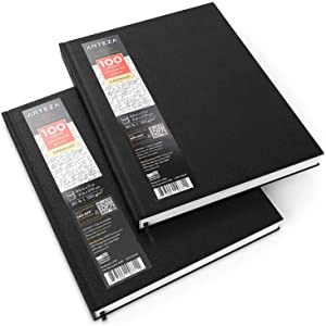 "ARTEZA 8.5x11"" Hardbound Sketchbook, Set of 2 Heavyweight Hard Cover Sketch Journals, 100 Sheets Each, 80lb/130gsm, Perfect for Drawing, Sketching, and Journaling"
