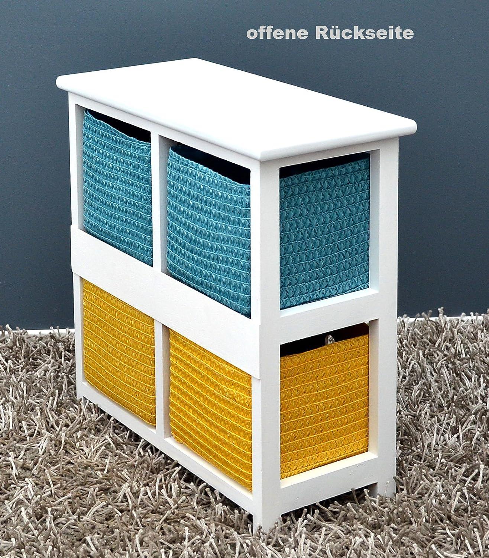 oficinas para ba/ño para la habitaci/ón de los ni/ños con 2 cestos en Color Blanco para Habitaciones para el sal/ón 42 cm de Alto ts-ideen Mesita cajonera