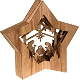 "Clever Creations Star Shaped Nativity Collectible Religious Christmas Scene | Festive Holiday Décor | LED Backlight Layered Design | 100% Wood | 10.5"" Tall 