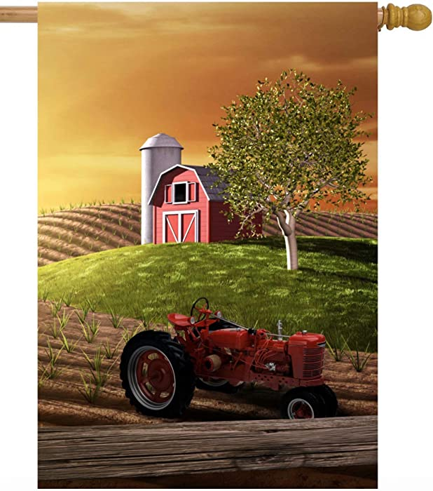 """ShineSnow Agriculture Farm Spring Morning with Barn and Tractor Sunrise House Flag 28"""" x 40"""" Double Sided Polyester Welcome Large Yard Garden Flag Banners for Patio Lawn Home Outdoor Decor"""
