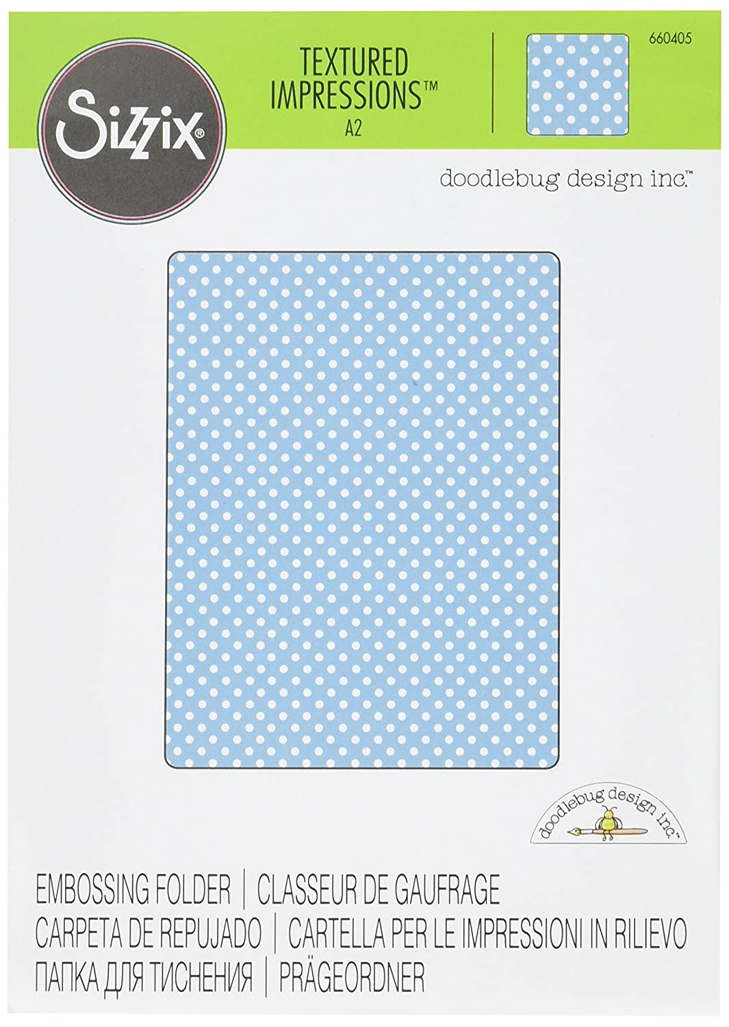 Sizzix 660405 Textured Impressions Embossing Folder Dots No.7 by Doodlebug Design, Red Ellison