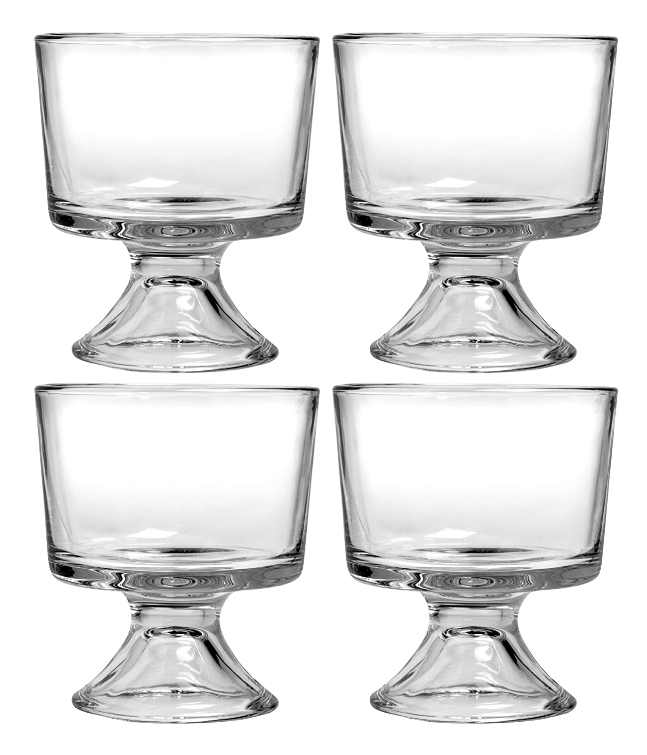 Anchor Hocking Set of 4 Glass Sundae Glasses, Glass Dessert Dishes, Glass Trifle Punch Bowl 4AH86811