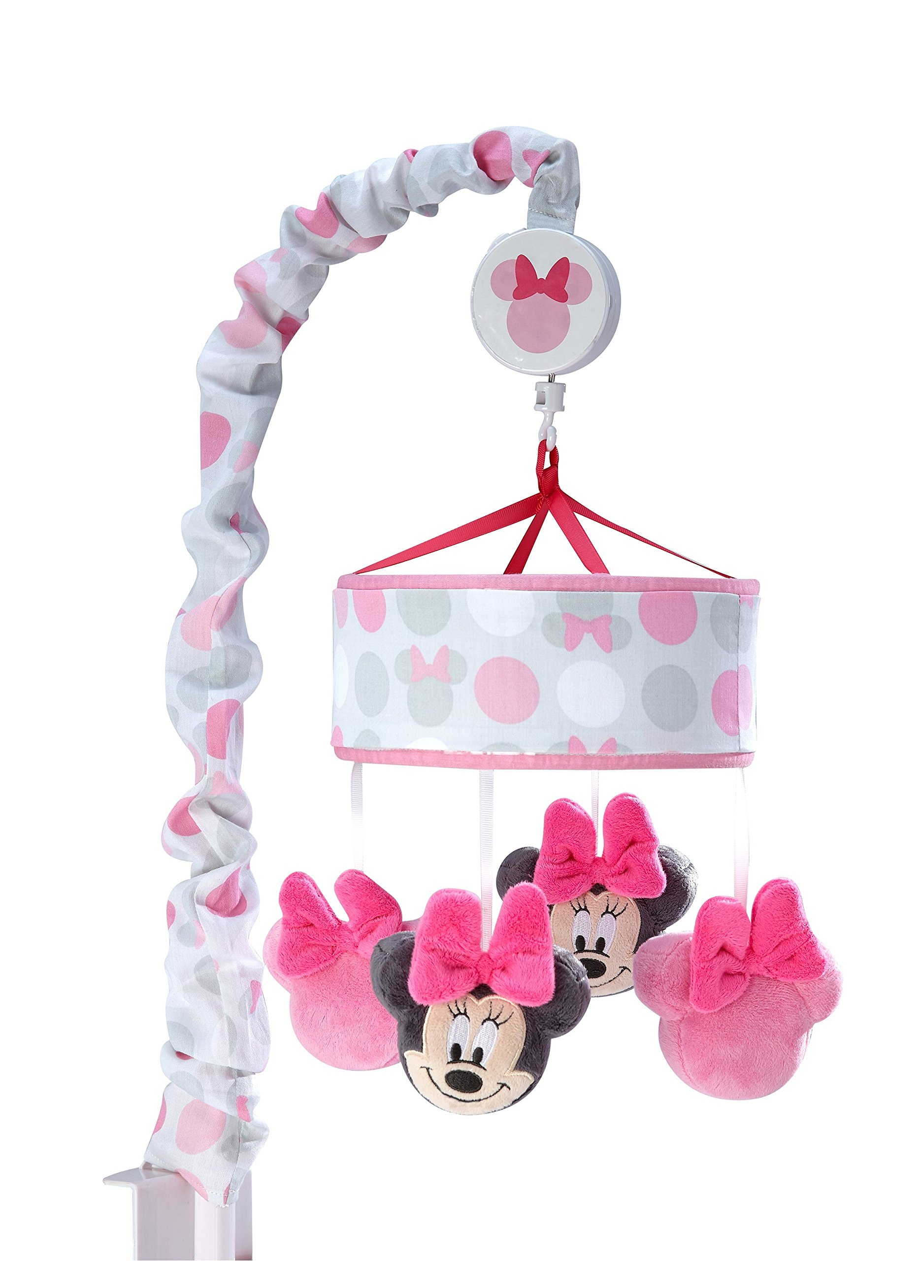 Disney Minnie Mouse Polka Dots Nursery Crib Musical Mobile, Light Pink/White/Grey/Bright Raspberry