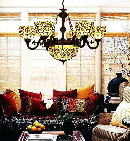 Makenier Vintage Tiffany Lámpara de techo con 6 brazos de ...