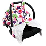 Strawberry Farms Deluxe Baby Car Seat Cover Canopy and Nursing Cover 2 in 1 Elephant and Giraffe