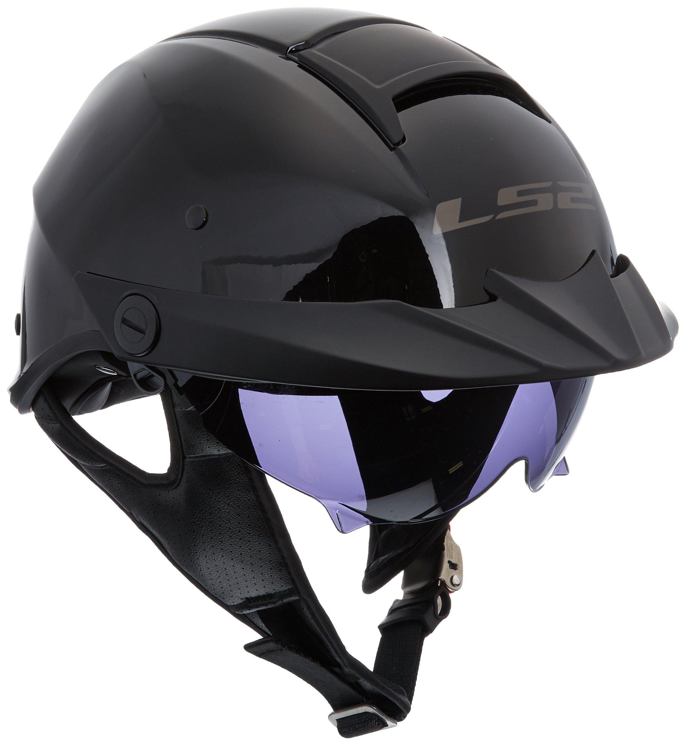 LS2 Helmets Rebellion Unisex-Adult Half Helmet Motorcycle Helmet (Gloss Black, Medium)